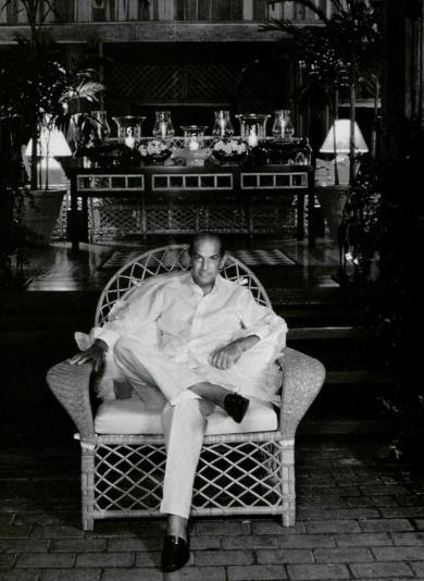 Oscar de la Renta chez lui à Saint-Domingue, 1986.